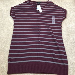 Calvin Klein Jeans Maroon & Gray Striped Sweater